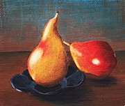Red Prints Drawings Framed Prints - Two Pears Framed Print by Anastasiya Malakhova