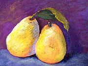 Isolated Pastels Prints - Two Pears Print by Arlene Baller