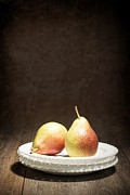 Dark Background Posters - Two Pears Poster by Christopher and Amanda Elwell