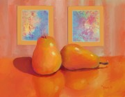 Pear Art Framed Prints - Two Pears  Framed Print by Dessie Durham