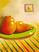 Table Cloths Posters - Two Pears with Striped Table Cloths Poster by Dessie Durham
