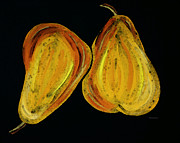 Pear Art Mixed Media Posters - Two Pears - Yellow Gold Fruit Food Art Poster by Sharon Cummings