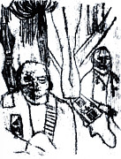 Outsider Art Art - Two People in a Tent by Edgeworth Johnstone