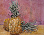 Dining Room Art Framed Prints - Two Pineapples Art Painting Framed Print by Blenda Studio