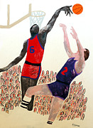 Basketball Paintings - Two Points by Andrew Petras