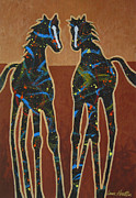Abstract Dogs Paintings - Two Ponies by Lance Headlee