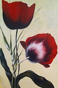 Poppy Drawings - Two Poppies by Aysugul Alptekin