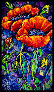 Pair Mixed Media Framed Prints - Two Poppies  Framed Print by OLena Art
