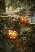 Old Face Prints - Two Pumpkins Print by Christopher and Amanda Elwell