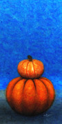 Complementary Color Prints - Two Pumpkins Print by Jutta Maria Pusl