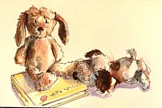 Beagle Puppies Paintings - Two Pups with a Book by Joose Hadley