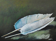 Swans... Paintings - Two Quills by Ka-Son Reeves