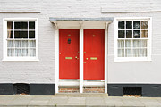 Two By Two Framed Prints - Two red doors Framed Print by Chevy Fleet