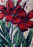 Red Art Tapestries - Textiles Framed Prints - Two Red Flowers Framed Print by Jean Baardsen