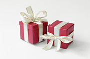 Red Bow Prints - Two red gift boxes Print by Kiril Stanchev