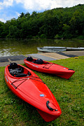 Rowboat Photos - Two Red Kayaks by Amy Cicconi