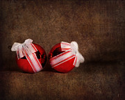Holiday Art Prints - Two Red Ornaments Print by Jai Johnson