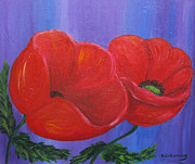 Poppies Field Paintings - Two Red Poppies by Sian Lorraine