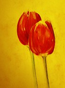 Tulips Drawings - Two Red Tulips by Jean Cormier