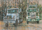 Truck Pastels Prints - Two Rigs Print by Donald Maier