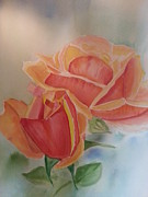 Nickel Yellow Paintings - Two Roses by Ordy Duker