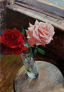 Patrick Paintings - Two Roses by Patrick Saunders