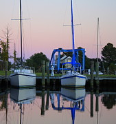 Docked Sailboats Posters - Two Sailboats At Dock Poster by Carolyn Ricks