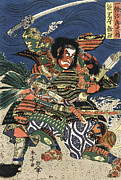 Mma Framed Prints - TWO SAMURAI FIGHTING c. 1819 Framed Print by Daniel Hagerman
