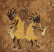 African-american Paintings - Two Sax Players by Katherine Young-Beck