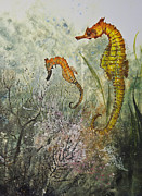 Fish Rubbing Prints - Two Sea Horses Print by Nancy Gorr