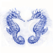 Seahorse Digital Art Metal Prints - Two Seahorses- Blue Metal Print by Jane Schnetlage