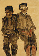 Open Mouth; Outer Garment; Portrait; Portraiture; Posture; Seated; Trousers; Two People; Watercolor; Watercolour; Youth; Young; Youthful Prints - Two Seated Boys Print by Egon Schiele