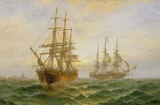Two Ships Passing At Sunset Print by Claude T Stanfield Moore