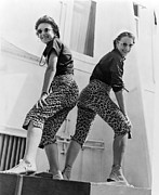 Matching Outfits Prints - Two Sisters Arrive In Style Print by Underwood Archives