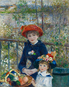 The Two Sisters Art - Two Sisters on the Terrace by Auguste Renoir
