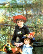 Pierre Auguste Framed Prints - Two Sisters on the Terrace Framed Print by Pierre-Auguste Renoir