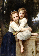 Little Girls Digital Art - Two Sisters by William Bouguereau