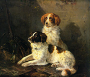 Puppies Digital Art Framed Prints - Two Spaniels Waiting For The Hunt Framed Print by Henriette Ronner Knip