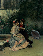 Smiling Painting Posters - Two Spanish Women Poster by Ricardo de Madrazo y Garreta