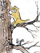 Pictures Of Cats Prints - Two Squirrels Print by Ellen Miffitt