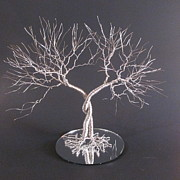 Wire Tree Sculptures - Two Standing Together Wedding Cake Topper Sculpture by Ken Phillips