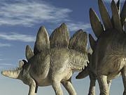 Stegosaurus Digital Art - Two Stegosaurus Against A Blue Sky by Craig Brown