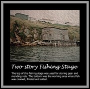 Mending Digital Art Framed Prints - Two-Story Fishing Stage Framed Print by Barbara Griffin