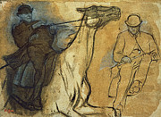 Line Art Drawings - Two Studies of Riders by Edgar Degas