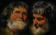 Old Age Painting Prints - Two studies of the head of an old man Print by Jacob Jordaens