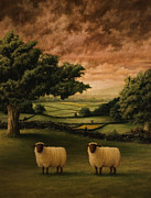 Sheep Paintings - Two Suffolks by Mark Zelmer