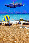Desolated Paintings - Two sun-chairs and umbrella painting by Magomed Magomedagaev