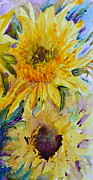 Beverley Harper Tinsley Painting Prints - Two Sunflowers Print by Beverley Harper Tinsley