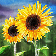 Yellow Flowers Painting Prints - Two Sunflowers Print by Irina Sztukowski