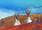 Montana Digital Art Framed Prints - Two Teepees Framed Print by Kae Cheatham
